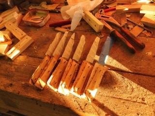 Fabrication des manches de 6 couteaux de table