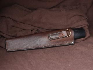 Couteau de Bosco Lame en C130 Manche en chêne de bateau stabilisé et chêne d'eau Etui en cuir sur mesure